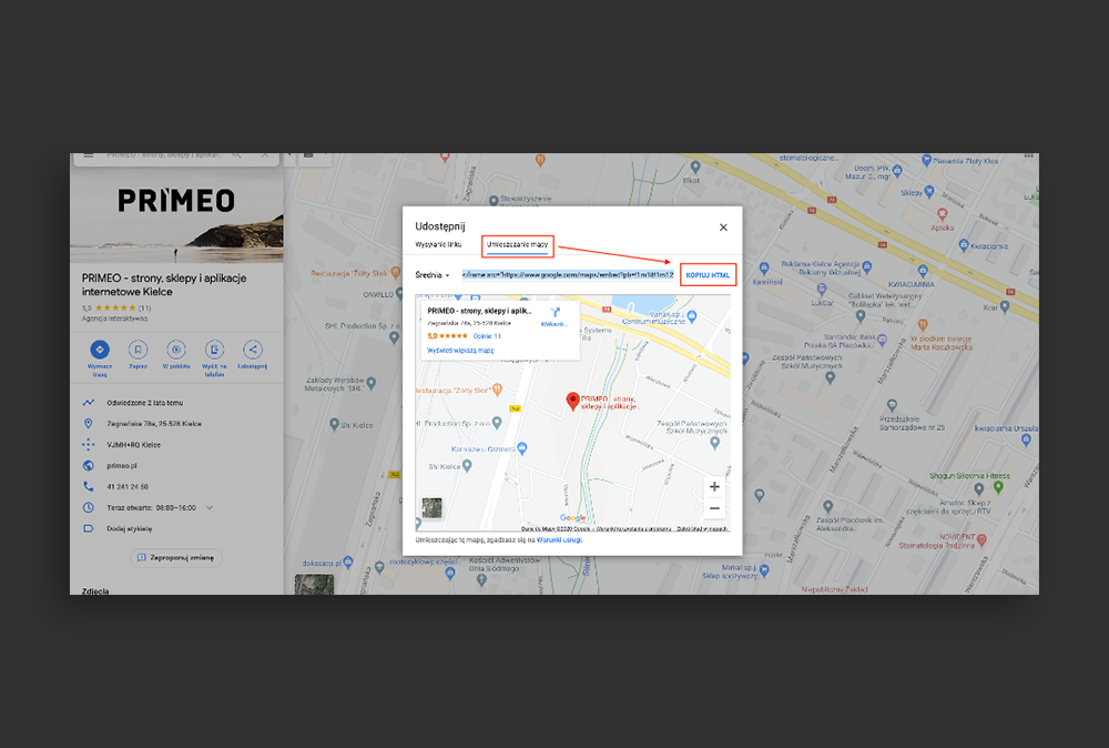 kopiowanie kodu mapy Google