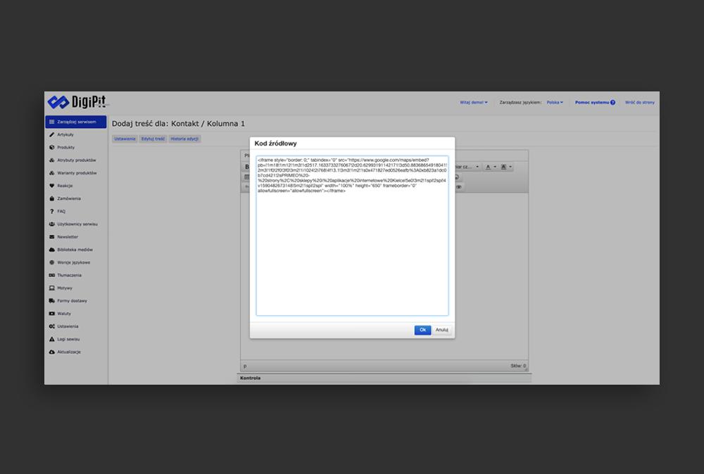 Okno kodu źródłowego DigiPit CMS