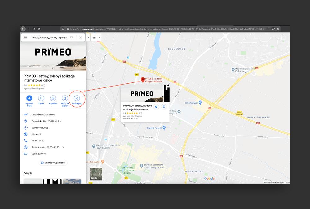 Wyszukiwanie lokalizacji na mapie Google.
